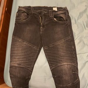 True religion black denim biker jeans